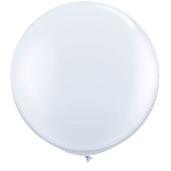 WHITE GIANT BALLOONS 90CM (2 pack)