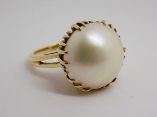 NEW 15mm MABE PEARL RING 14K SOLID GOLD ONE OF A KIND SETTING