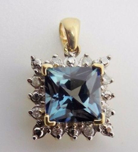 3.26 Ct. Blue Mystic Topaz & Diamond Pendant in 10k Solid gold YG - NWOT G21
