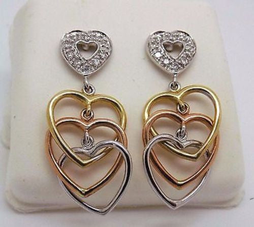 .20 cttw Heart Shaped Tri-Colored 14k solid gold earrings Rose White Yellow 023