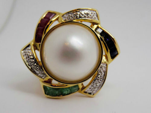 13mm Mabe Pearl with Ruby, Emerald, Sapphire & Diamond Ring 14k NWOT