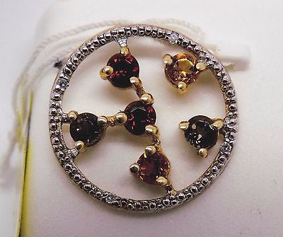 CITRINE, GARNET, SMOKEY QUARTZ  & DIAMOND PENDANT 10K