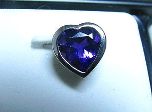 Heart shaped African Amethyst Slide Pendant in Sterling Silver 9mm - NWOT