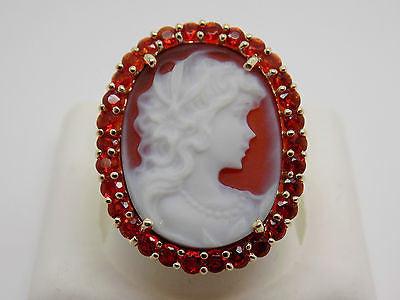 SOLD Natural Mexican Fire Opal and Carnelian Cameo Ring 14k Solid Gold 31K