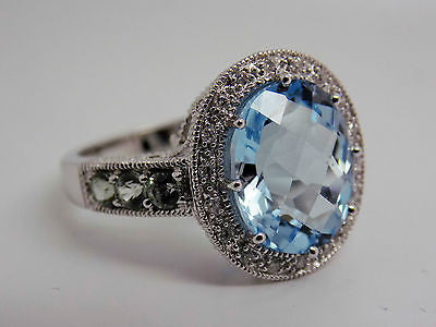 6 Ct. Blue Topaz Diamond Accent and Green Amethyst Halo Ring 10k WG- NWOT