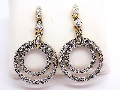 1 cttw Natural Diamond Earrings 10k Solid Gold - Circle design - NWOT 024