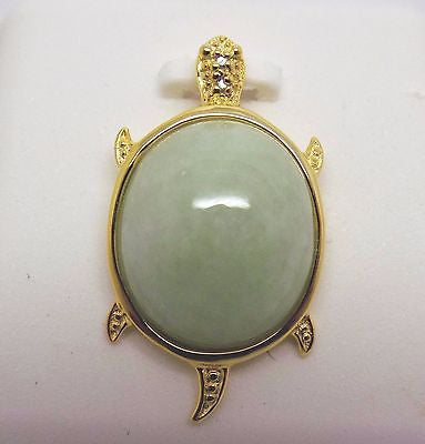 Jade Turtle Pendant Gold Plated Over Sterling Silver Natural Diamond NEW 170