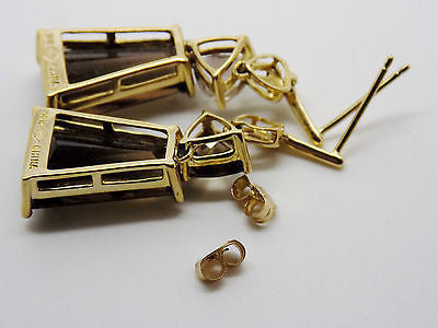 "1 7/16"" Long Dangly Natural Smokey Quartz Earrings in 10k Solid Gold"