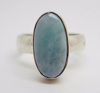 18x9mm Long Oval Dominican Larimar Ring In Sterling Silver - NEW 376
