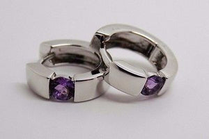 "1/2"" Hinged Snap Back Huggies Hoop Earrings with Natural Amethyst 925 - NEW"