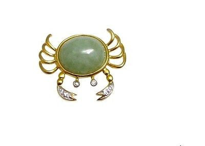 Jade Crab Pendant Gold Plated Sterling Silver w Natural Diamond Accent NWT 175