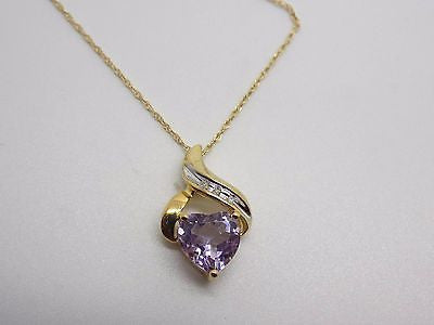 Natural Amethyst - Heart Shaped - & Diamond Necklace in 10k Solid Gold NEW