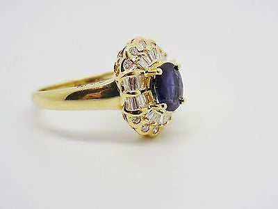 1.49 Ct. Natural Sapphire & Diamond Ring 18k Solid Gold NWT Baguettes