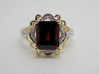 2.8 Ct. Natural Garnet & Diamond Ring in 10k Solid Gold - NEW Two-Tone