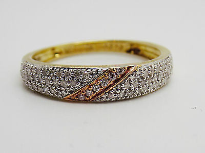 Diamond Cluster Ring W/diagonal Rose Gold in center 9k Yg - Two Tone NWOT