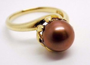 9mm CHOCOLATE CULTURED PEARL BYPASS BASKET RING 14K 350