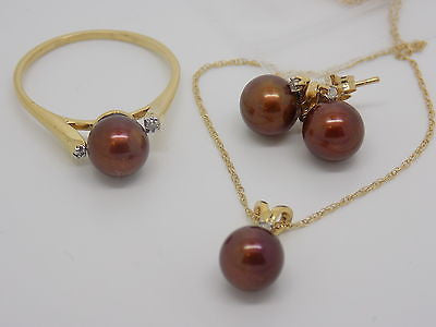 3 Piece Pearl Jewelry set Ring Earrings Necklace Brown Freshwater Pearl 14k