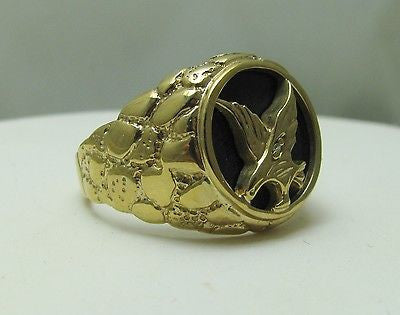 MENS Natural Onyx Nugget Style Ring with Eagle & Diamond accent 10k - NWT 5.6gr