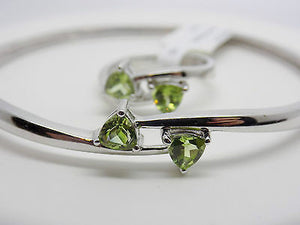 6mm Natural Peridot Bangle Bracelet and Ring Jewelry Set Sterling Silver NWT 630