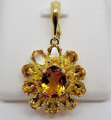10.25 ct Citrine Cluster Enhancer Pendant  in 14k Solid Gold - NWOT