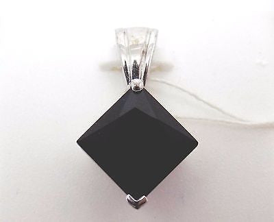 Natural Black Onyx pendant Princess Cut in Sterling Silver - NWT - 9mm 161