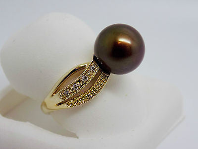 9.5 - 10mm CHOCOLATE TAHITIAN PEARL .10 CT DIAMOND RING 14K