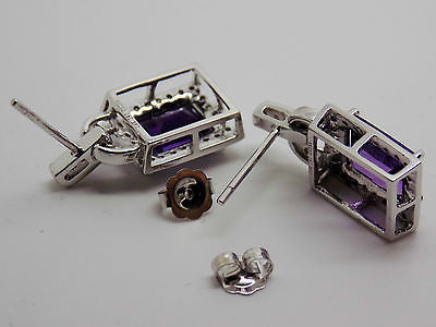 4.5 Ct. Natural African Amethyst & Diamond Earrings 14k Solid Gold - NEW 004