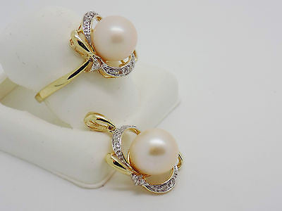 2 Pc 9.5mm Peach Pearl Diamond Jewelry set Ring Pendant Freshwater 14k NEW 9899