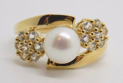 7.5mm Freshwater Pearl & White Topaz Ring 14k Solid Gold - NEW - Unique design