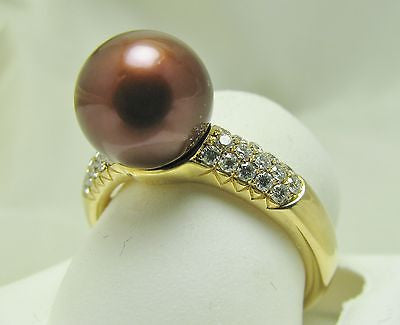 9.5-10mm CHOCOLATE TAHITIAN PEARL  .30 CT  DIAMOND RING 14K   - NEW