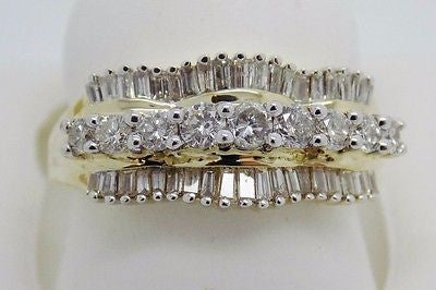 1.02 Ct. Natural Diamond Ring - Baguette & Round Cut - 10k Solid Gold - NEW 4.7g