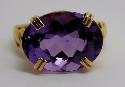 NEW ~ Huge 7.6 CT east-west Amethyst Elephant Crown Setting Ring 10K size 5.75