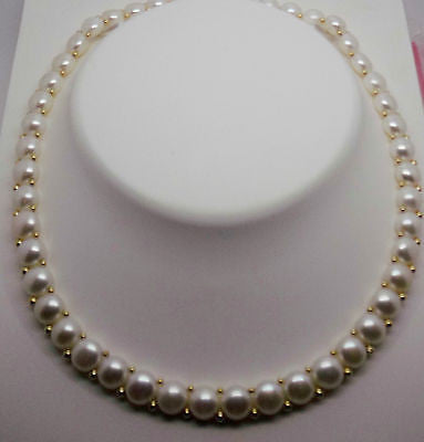 14k Pearl Necklace - White Button Shape, Solid Gold beads & Box Clasp NEW