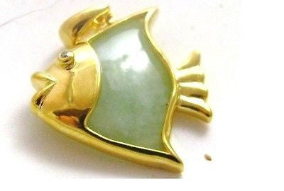 Jade Fish Pendant Gold Plated Sterling Silver w Natural Diamond Accent NEW 171