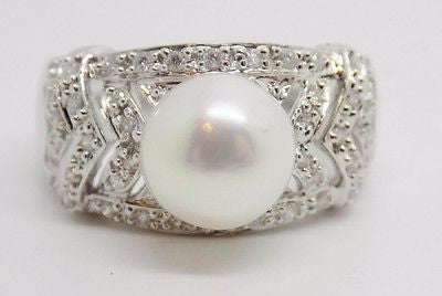 9mm Cultured Freshwater Pearl & .25 Ct. Diamond Ring 18k Solid Gold NEW G60