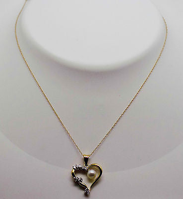 "Natural Pearl & .10 Ct Diamond Heart 18"" Necklace & Pendant 10k solid gold - NEW"