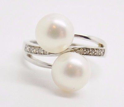 8.3mm Double Freshwater Pearl & .10 ct Natural Diamond Ring 10k Solid Gold - NEW