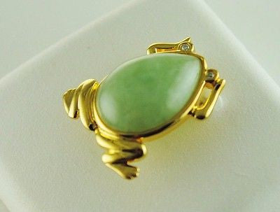 Jade Frog Pendant Gold Plated Over Sterling Silver w Natural Diamond Accents NEW