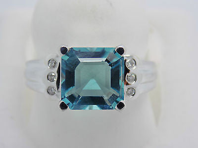 4 Ct. Natural Color-change Fluorite & Diamond Ring 14k Solid Gold WG NEW