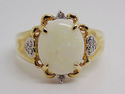 12x10mm Natural Opal & Diamond Accent Ring 10k - pink & green flashes NWT 30J