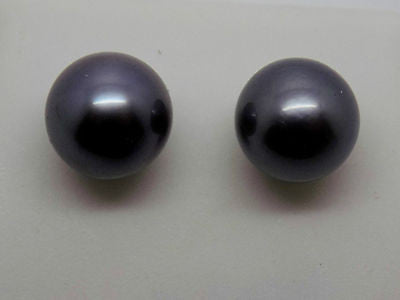 14K Solid Gold 8mm Gray Tahitian Pearl Stud Earrings in Solid Gold NEW 015