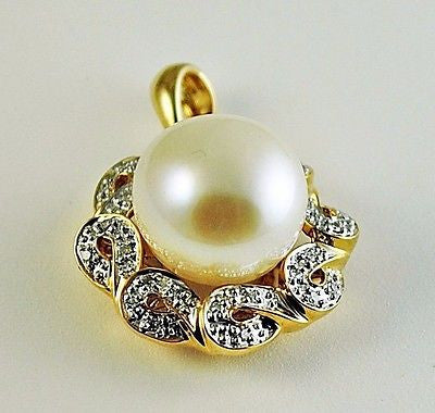 14k Solid Gold 11mm Freshwater Pearl & .14 ct Natural Diamond Pendant - NWOT 128