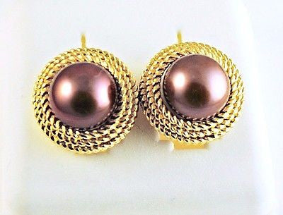 14K Solid Gold 9mm Chocolate Pearl Stud Earrings decorative twisted rope 058