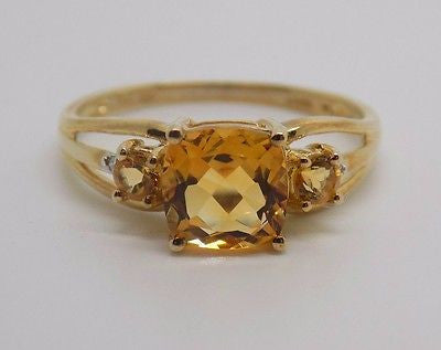 1.22 Ct Natural Citrine & Diamond Ring 10k Solid Gold NEW - November birthstone