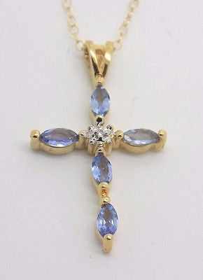 SOLD Natural Tanzanite & Diamond Cross Pendant Necklace 14k Solid Gold - NEW GR