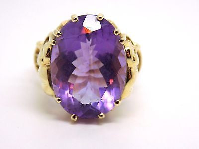 9.2 ct Amethyst Ring 10k Solid gold - Decorative Elephant Crown Setting - NEW