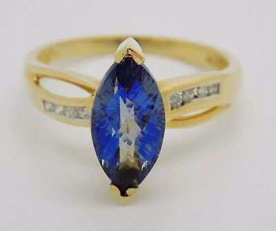 13x6mm Marquise Cut MysticTopaz& .08 Ct Diamond Ring 14k Solid Gold NEW