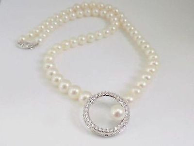 8mm White Freshwater Pearl Strand Necklace 14k Solid Gold White Sapphire Circle
