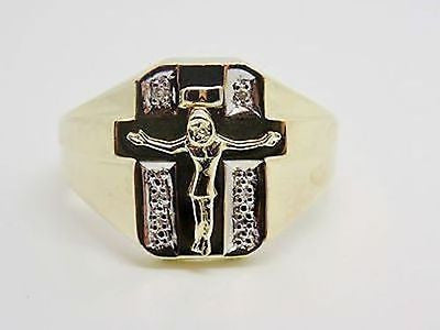 MENS Diamond Accent Ring Jesus on the Cross 10K Solid Gold Band 3.8 grams - NEW