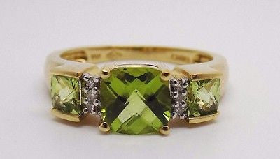 SOLD 1.75 Ct. Cushion Cut Peridot & .04 Ct. Diamond Ring - 10k Solid Gold - NEW